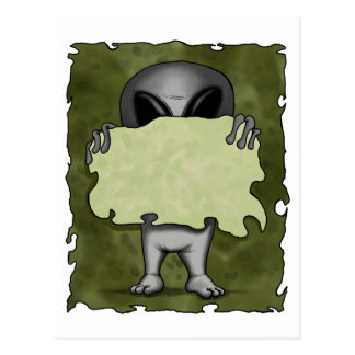 Alien With Blank Sign Postcard
