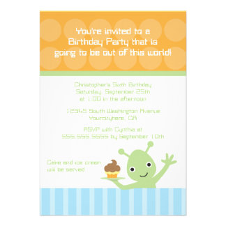 Alien with cupcake boy's birthday party invitation
