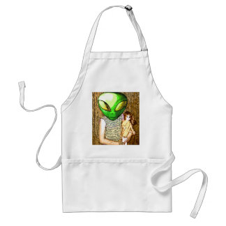 alien with doll apron