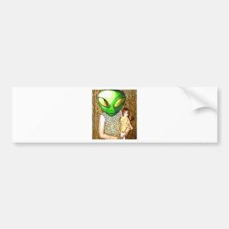 alien with doll bumper sticker