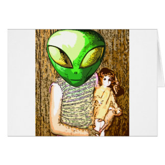 alien with doll card