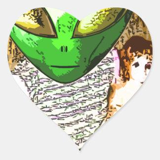 alien with doll heart sticker