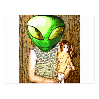 alien with doll postcard