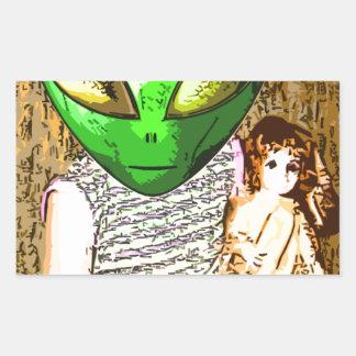 alien with doll rectangular sticker