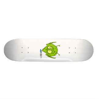 Alien with Giant Head driving UFO Skateboard Deck
