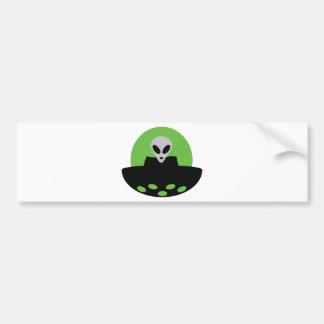 alien with ufo icon bumper sticker