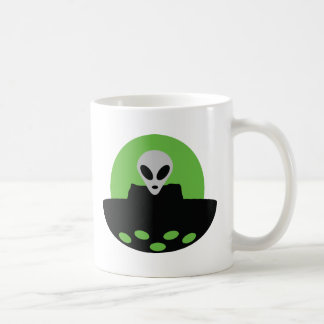 alien with ufo icon mugs