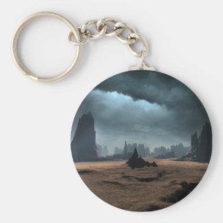 Alien World Basic Round Button Keychain