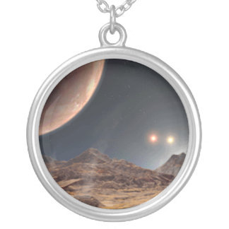 Alien World Charm Silver Plated Necklace