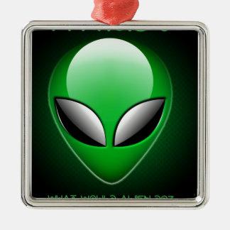 Alien_Wwad Adorno Navideño Cuadrado De Metal