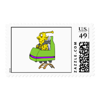Alien yellow coaster postage