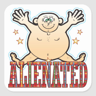 Alienated Fat Man Square Sticker