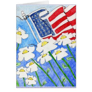 Alienated Soul: Flowers Paying Attention US Flag Greeting Card