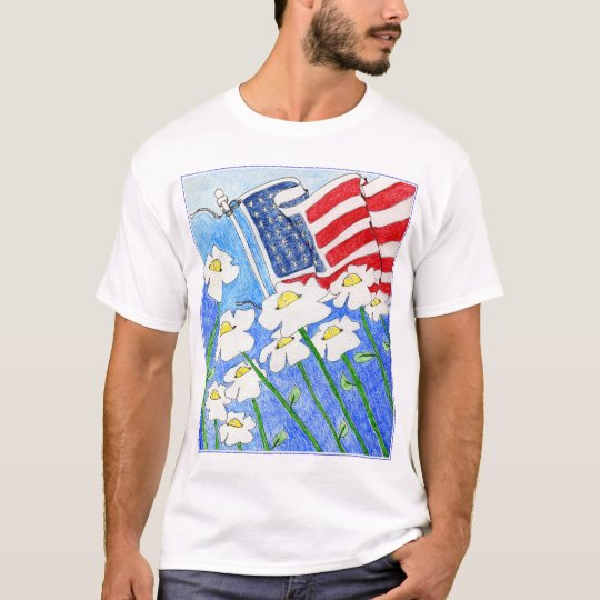 Alienated Soul: Flowers Paying Attention US Flag T-Shirt