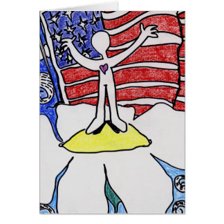 Alienated Soul: Standing ontop of Flower US Flag Greeting Cards