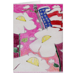 Alienated Soul: Three Flowers US Flag Pink Sky Greeting Card
