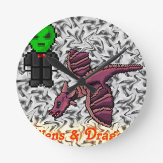 aliens and Dragons Round Clock