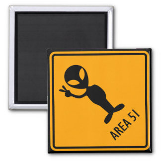 Aliens Area 51 Roswell Yellow Diamond Warning Sign 2 Inch Square Magnet