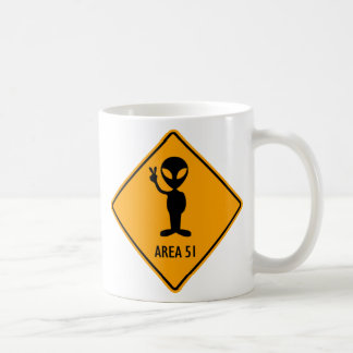 Aliens Area 51 Roswell Yellow Diamond Warning Sign Coffee Mug