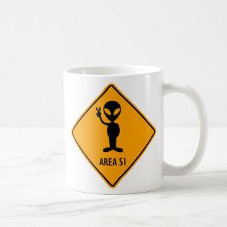 Aliens Area 51 Roswell Yellow Diamond Warning Sign Coffee Mug