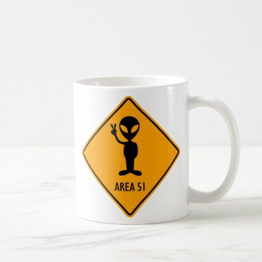 Aliens Area 51 Roswell Yellow Diamond Warning Sign Mugs