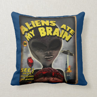 Aliens Ate My Brain Pulp Cover Style Pillows