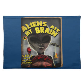 Aliens Ate My Brain Pulp Cover Style Placemats