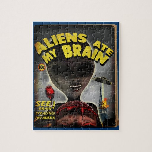 Aliens Ate My Brain Pulp Cover Style Puzzle