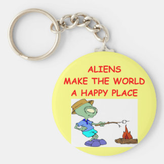 aliens basic round button keychain