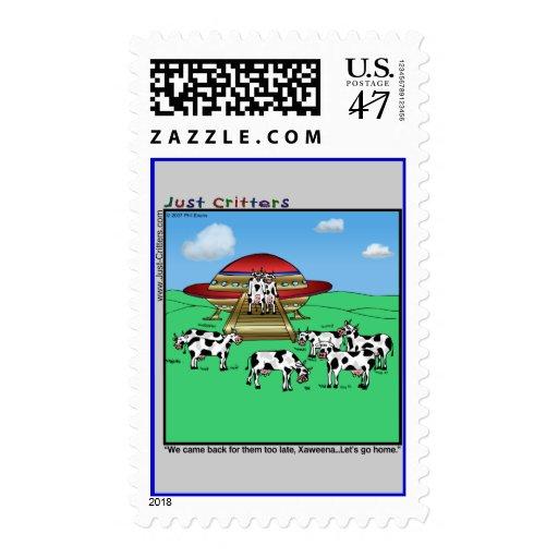 Aliens Cows Postage