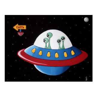 Aliens Earth or Bust! Postcard