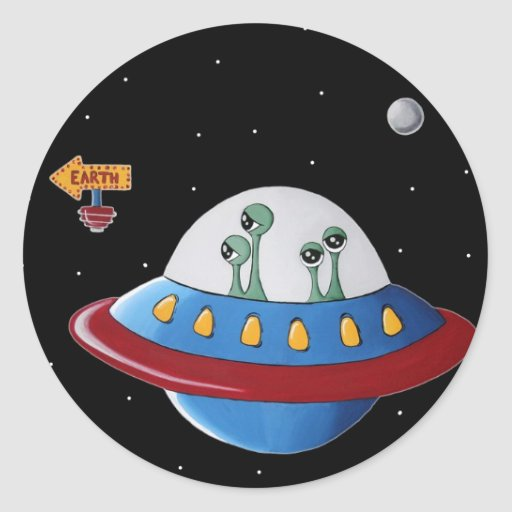Aliens Earth or Bust! Round Sticker