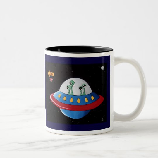 Aliens Earth orBust! Two-Tone Coffee Mug