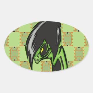 Aliens Gone Gothic Oval Sticker