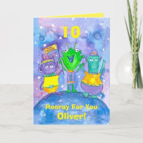 Aliens Happy 10th Birthday Custom Name Card