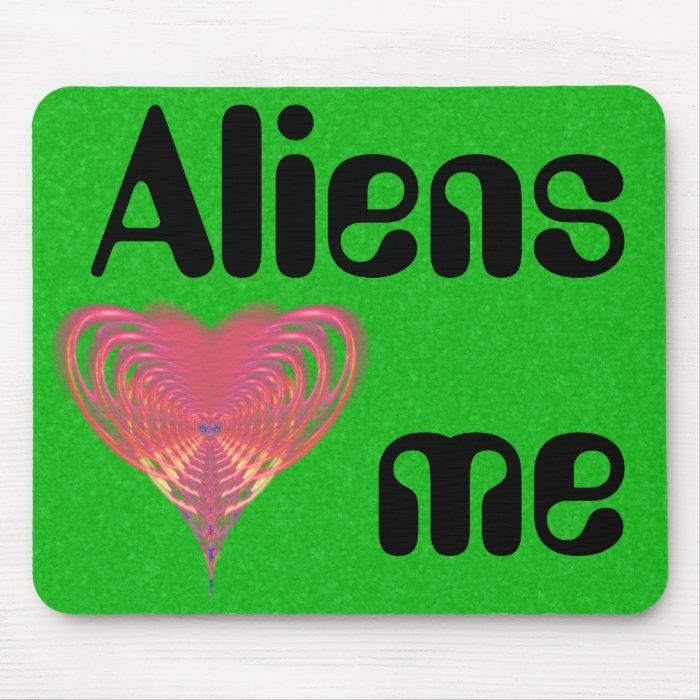 Aliens Heart Me Pink Heart Fractal Mouse Pad