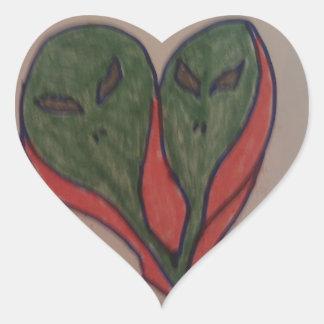 aliens heart sticker