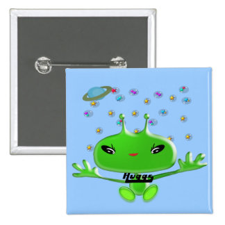Aliens Huggs Pinback Button