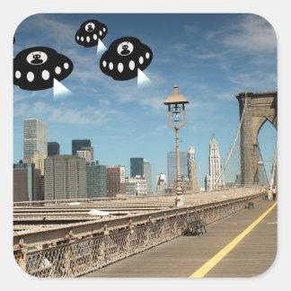 Aliens invade New York Square Sticker