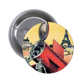 Aliens Invade Paris Pinback Buttons