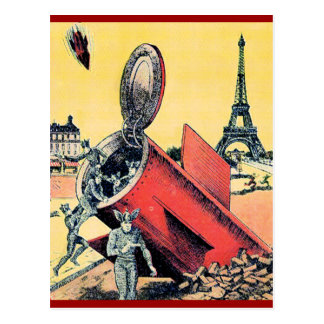 Aliens Invade Paris Postcard