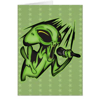 Aliens Invade The Karaoke Bar Stationery Note Card