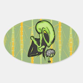 Aliens Love Brain Food Oval Stickers