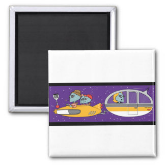 Aliens On Vacation 2 Inch Square Magnet