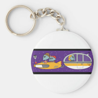 Aliens On Vacation Basic Round Button Keychain