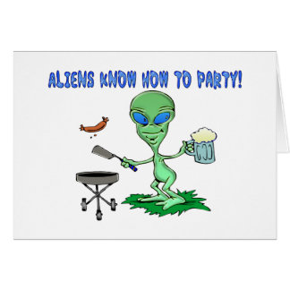 Aliens Party Greeting Card