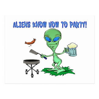 Aliens Party Post Card