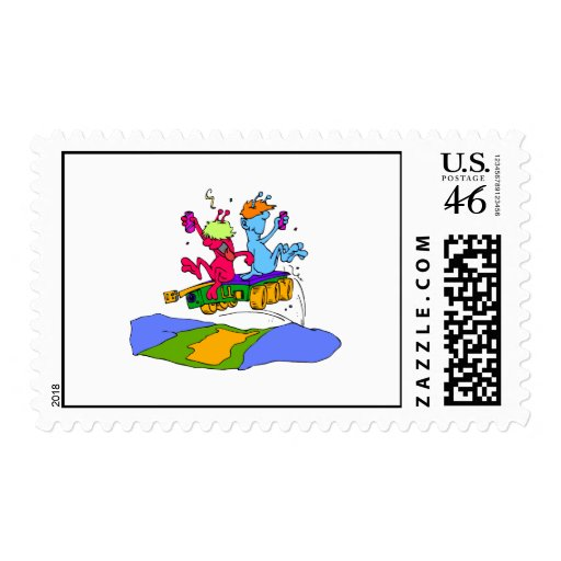 Aliens Partying Postage Stamp