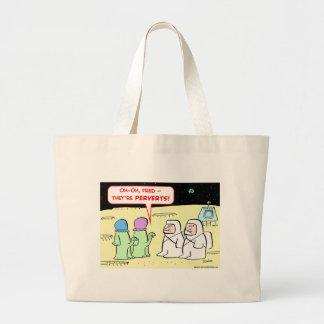 aliens perverts large tote bag