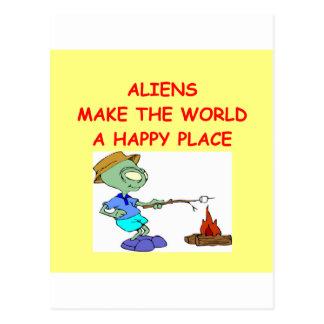 aliens postcard